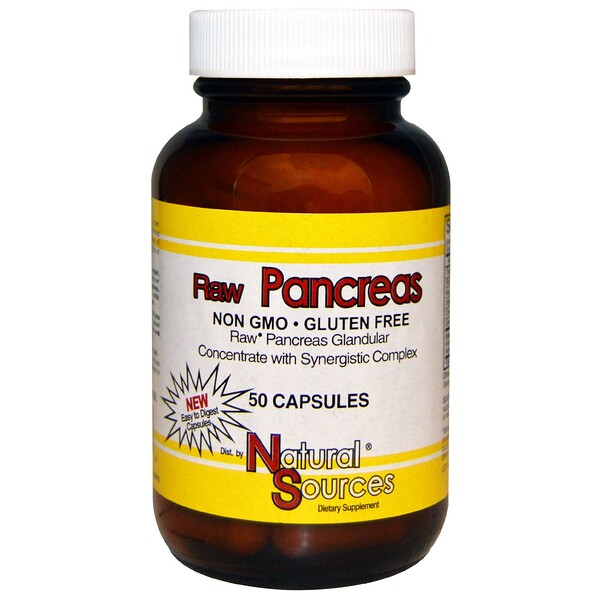 Natural Sources, Raw Pancreas, 50 Capsules