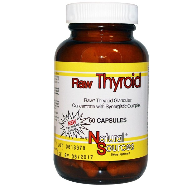 Natural Sources, Thyroïde crue, 60 capsules