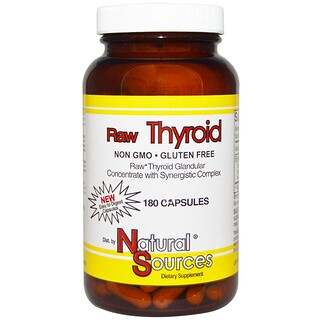 Natural Sources, Raw Thyroid, 180 Capsules