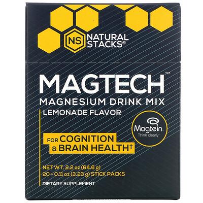 Natural Stacks MagTech, Magnesium Drink Mix, Lemonade, 20 Stick Packs, 0.11 oz (3.23 g) Each