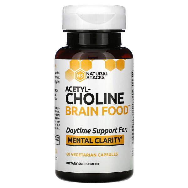 Natural Stacks, Acetyl-Choline Brain Food, 60 Vegetarian Capsules