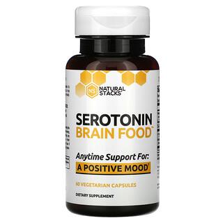 Natural Stacks, Serotonin Brain Food، عدد 60 كبسولة نباتية