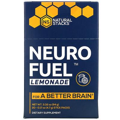 Natural Stacks Neuro Fuel Lemonade, 20 Stick Packs, 0.17 oz ( 4.7 g) Each  - купить со скидкой