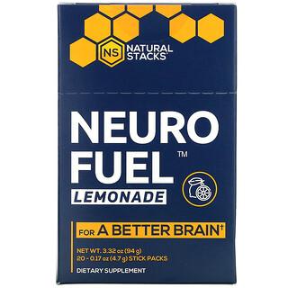 Natural Stacks, Neuro Fuel, Lemonade, 20 Stick Packs, 0.17 oz ( 4.7 g) Each