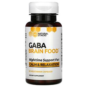 Natural Stacks, Gaba Brain Food, 60 Vegetarian Capsules
