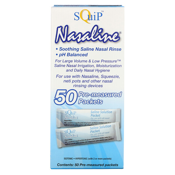 Nasaline, Saline Solution Packets, 50 Pre-Measured Packets