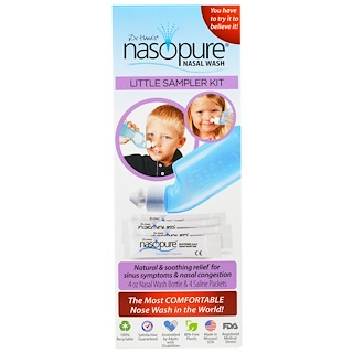 Nasopure, Nasopure Little Sampler Kit, 4 oz bottle, 4 buffered salt packets, instructions
