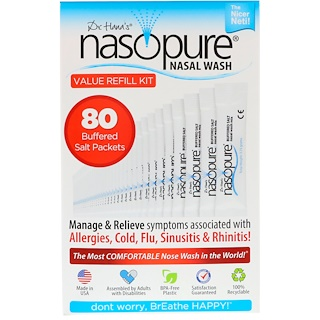 Nasopure, Nasal Wash, Value Refill Kit, 80 Buffered Salt Packets