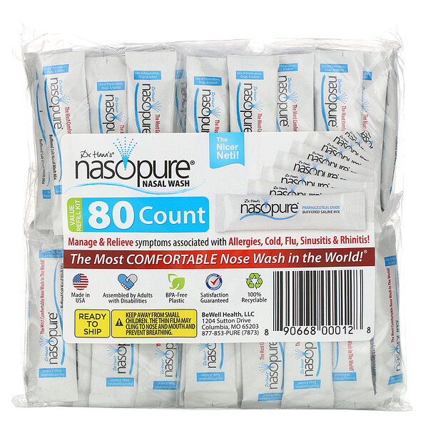 Nasopure, Средство для промывания носа, многоразовый перезаправляющийся набор, 80пакетиков
