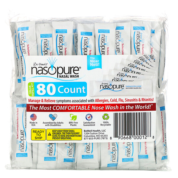 Nasopure, Nasal Wash, Value Refill Kit, 80 Count
