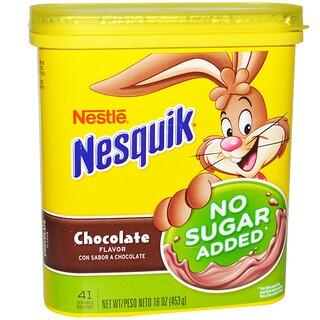 Nesquik, Nestle, 초콜릿 맛, 무설탕, 16 oz (453 g)