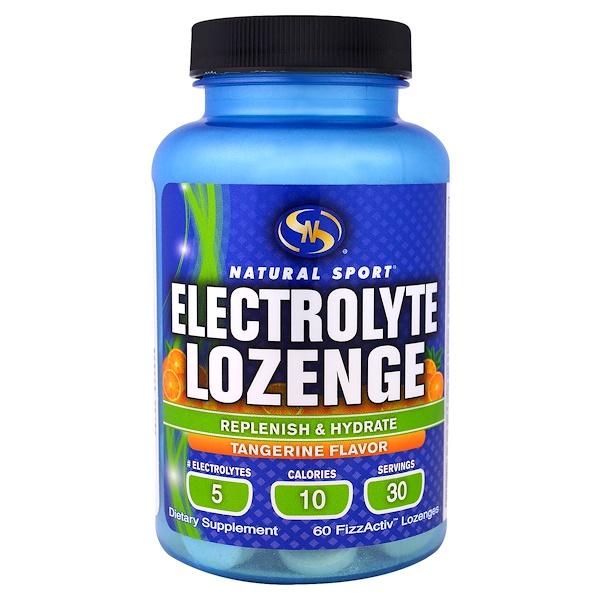 Sports電解質,飲料補給:Natural Sport, 電解止咳糖,橘子味,60錠FizzActiv錠劑
