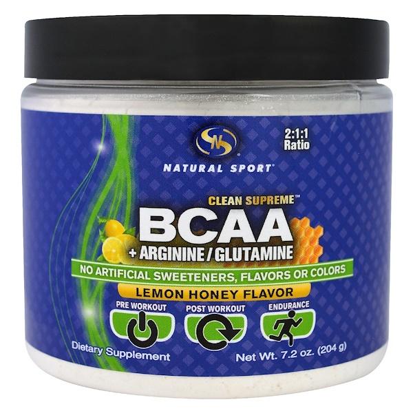 Natural Sport, Clean Supreme BCAA, Lemon Honey Flavor, 7.2 oz (204 g) (Discontinued Item)