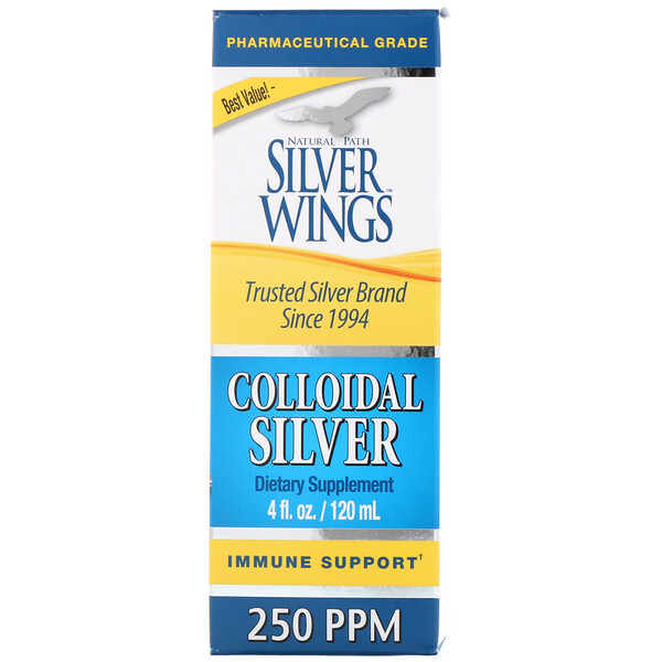 Natural Path Silver Wings, Prata Coloidal, 250 PPM, frasco de 4 oz (120 ml)