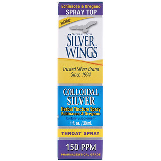 Natural Path Silver Wings, Colloidal Silver, Herbal Tincture Throat Spray, 150 PPM, 1 fl oz (30 ml)