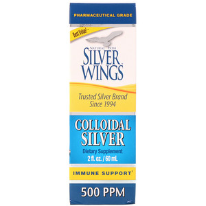 Натурал Пат Сильвер Вингс, Colloidal Silver, 500 PPM, 2 fl oz (60 ml) отзывы