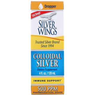 Natural Path Silver Wings, Colloidal Silver, Extra Strength, 500 PPM, 4 fl oz (120 ml)