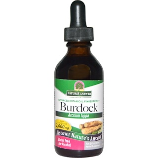 Nature's Answer, Bardana, contenido bajo de alcohol, 2000 mg, 2 oz líquidas (60 ml)