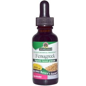 Натурес Ансвер, Fenugreek, Low-Alcohol, 2000 mg, 1 fl oz (30 ml) отзывы