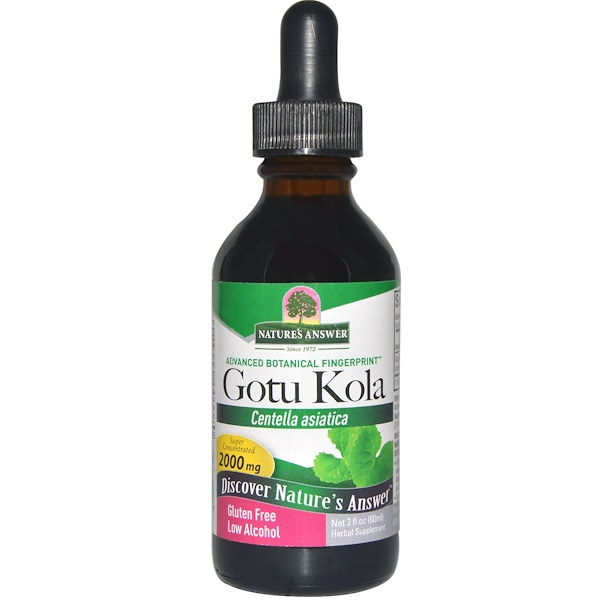 Nature's Answer, Gotu Kola, Baixo Teor de Álcool, 2000 mg, 2 fl oz (60 ml)