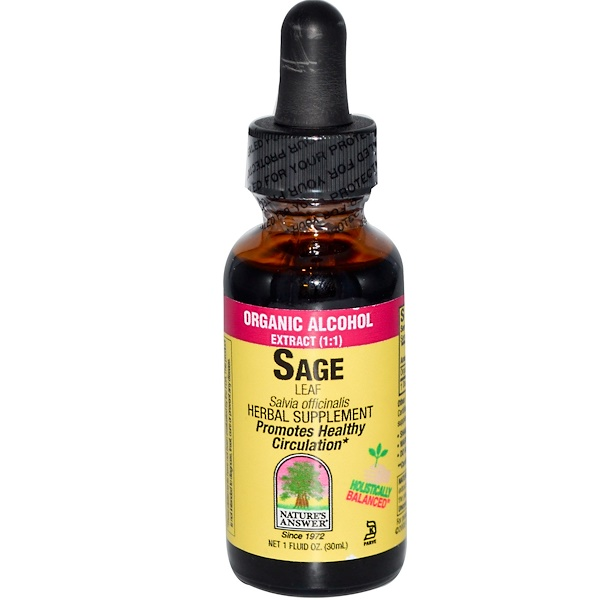 Nature's Answer, Sage Leaf, Organic Alcohol Extract, 1 fl oz (30  ml) (Discontinued Item)