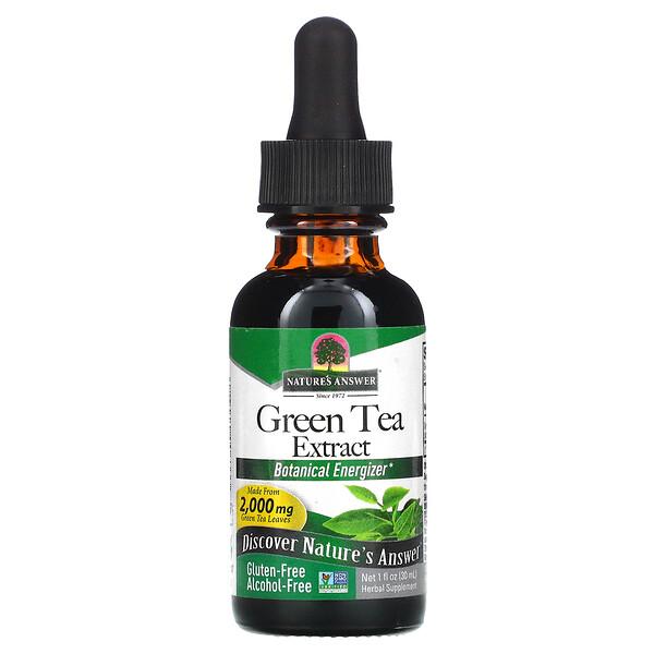 مستخلص الشاي الأخضر، خالٍ من الحكول، 2000 ملجم، 1 أونصة سائلة (30 مل)