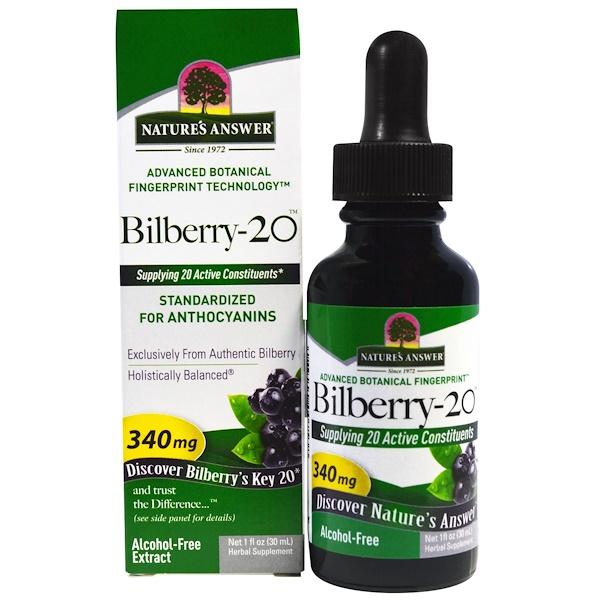 Nature's Answer, Bilberry-20, 340 mg, 1 fl oz (30 ml) (Discontinued Item)