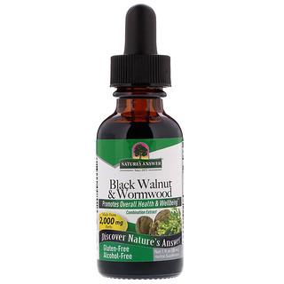 Nature's Answer, Black Walnut & Wormwood, Alcohol-Free, 2,000 mg, 1 fl oz (30 ml)