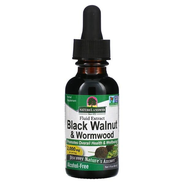 Nuez negra y ajenjo, Extracto fluido, Sin alcohol, 2000mg, 30 ml (1oz.líq.)