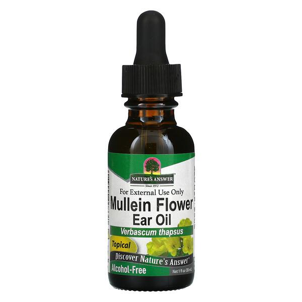 Mullein Flower Ear Oil, Alcohol Free, 1 fl oz (30 ml)