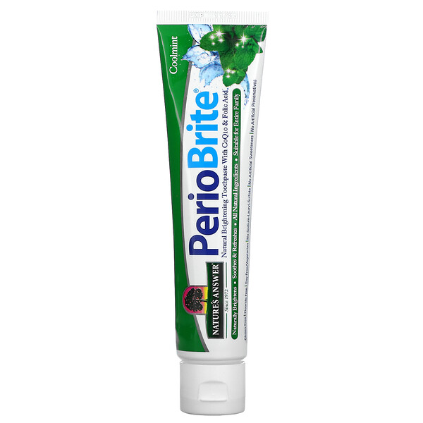 PerioBrite, Naturally Brightening Toothpaste with CoQ10 & Folic Acid, Cool Mint, 4 oz (113.4 g)