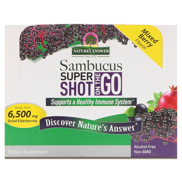 Nature's Answer, Sambucus Super Shot On The Go, Mixed Berry, 12 Pack, 2 fl oz (60 ml) Each
