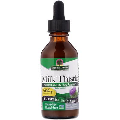 Купить Расторопша, без спирта, 2000 мг, 2 жидких унции (60 мл)