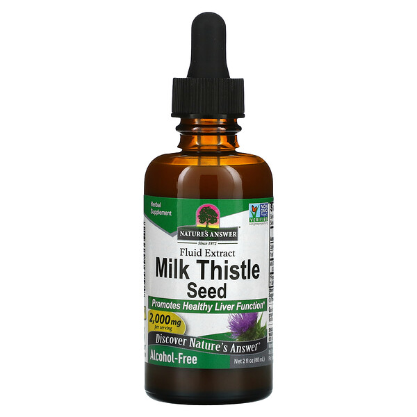 Nature's Answer, Milk Thistle Seed, Fluid Extract, Alcohol-Free, 2,000 mg, 2 fl oz (60 ml)