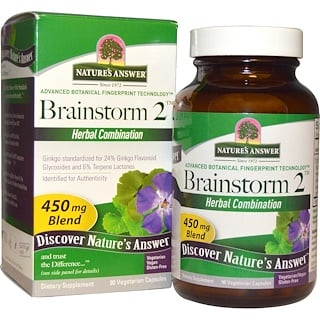 Nature's Answer, Brainstorm 2, Combinación de Hierbas, 450 mg, 90 Cápsulas Vegetarianas