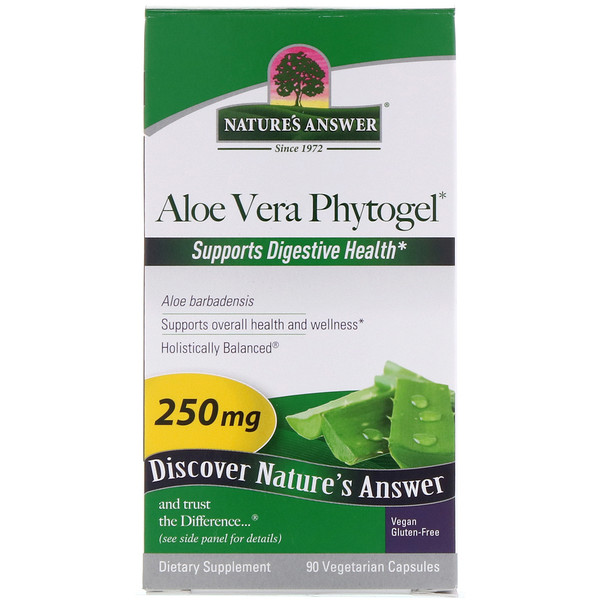Nature's Answer, Aloe Vera Fitogel, 250 mg, 90 Cápsulas Vegetales