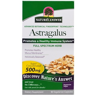 Nature's Answer, Astrágalo, 500 mg, 90 cápsulas vegetarianas