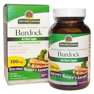Nature's Answer, Extracto de Raíz de Bardana, Amplio Espectro, 500 mg, 90 Cápsulas aptas para vegetarianos