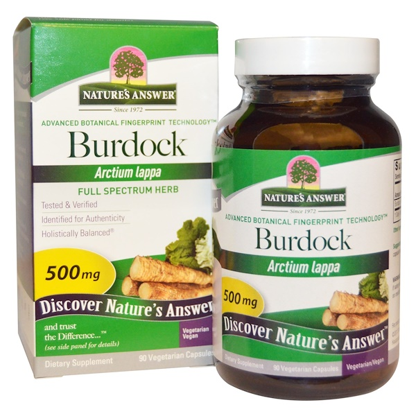Nature's Answer, Burdock, Full Spectrum Herb, 500 mg, 90 Vegetarian Capsules