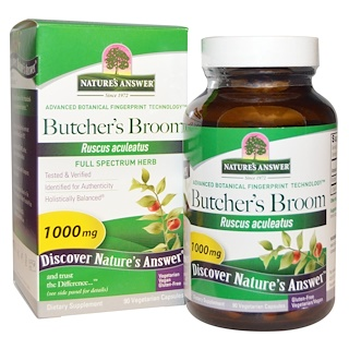 Nature's Answer, Butcher's Broom, Full Spectrum Herb, 1000 mg, 90 Vegetarian Capsules