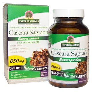 Nature's Answer, Cascara Sagrada, Erva de Espectro Completo, 850 mg, 90 Cápsulas Vegetais