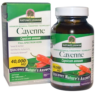 Nature's Answer, Cayenne, Capsicum Annuum, 90 vegetarische Kapseln
