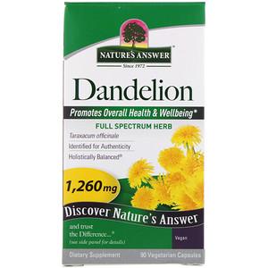Натурес Ансвер, Dandelion, 1,260 mg, 90 Vegetarian Capsules отзывы покупателей
