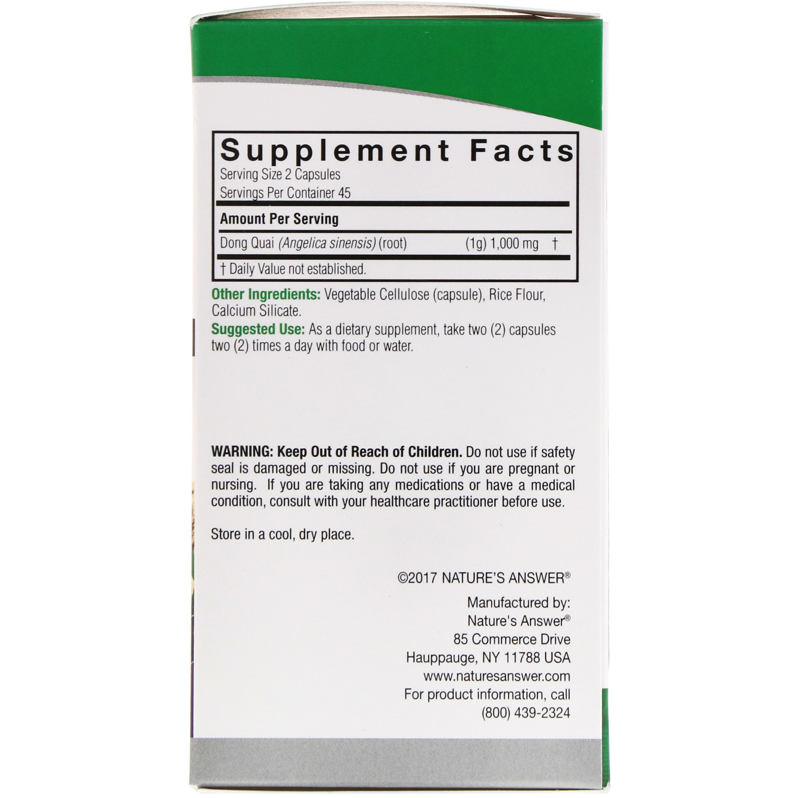 Nature's Answer, Dong Quai, 1,000 mg, 90 Vegetarian Capsules - iHerb com