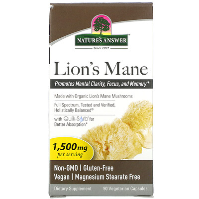 Купить Nature's Answer Lion's Mane, 1, 500 mg, 90 Vegetarian Capsules