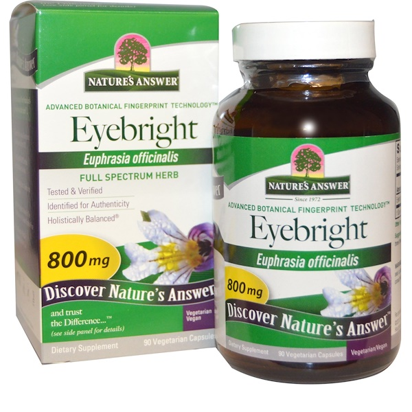 Nature's Answer, Eyebright、800 mg、野菜カプセル90錠