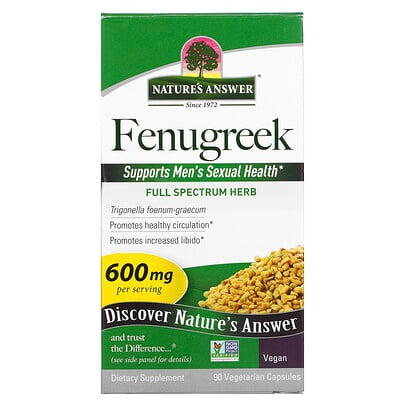 Nature's Answer Fenugreek, 600 mg, 90 Vegetarian Capsules