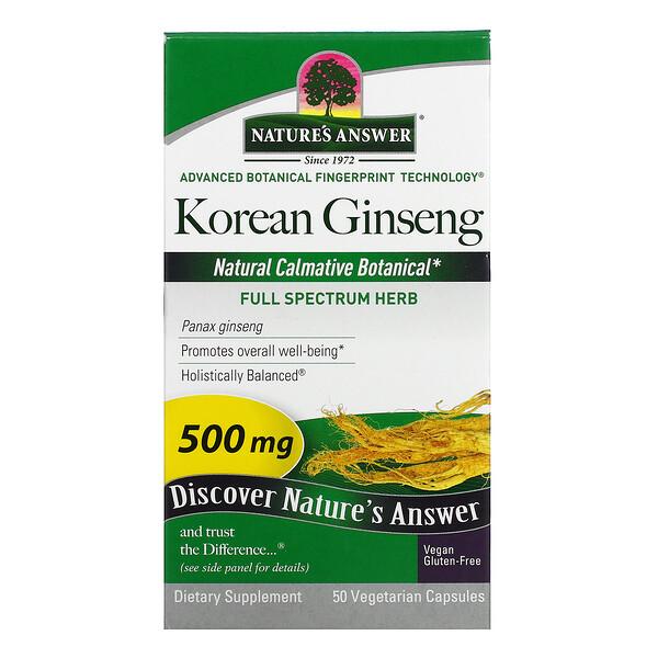 Korean Ginseng, 500 mg, 50 Vegetarian Capsules