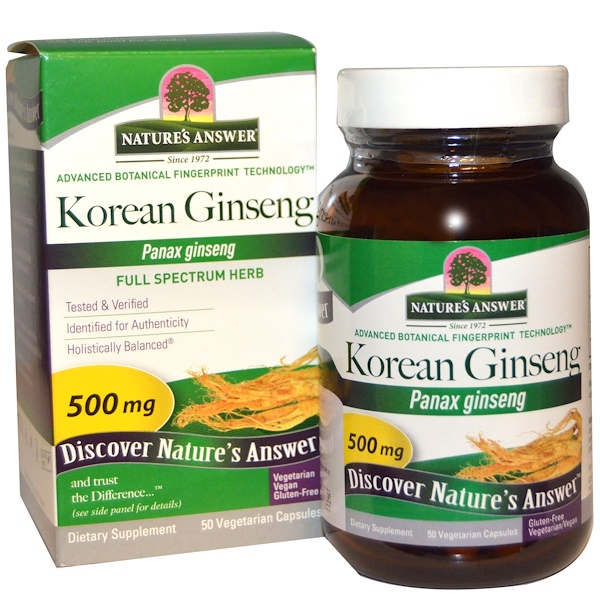 Nature's Answer, Korean Ginseng, 500 mg, 50 Vegetarian Capsules