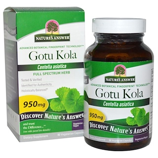 Nature's Answer, Gotu Kola,٩٠ كبسوله نباتيه ٩٥٠ ملى غرام